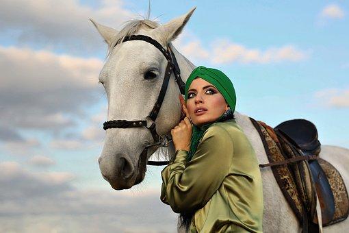 Woman, Model, Horse, Portrait, White Horse