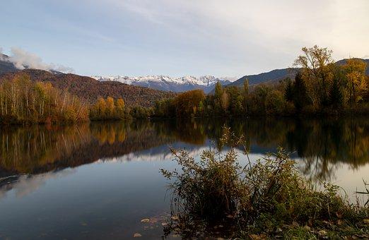 Lake, Trees, Mountains, Reflection, Water, Fall, Savoie