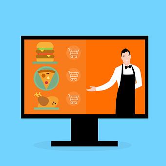 Man, Waiter, Screen, Burger, Pizza, Chicken, Monitor