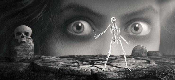 Skeleton, Eyes, Woman, Skull And Crossbones, Creepy