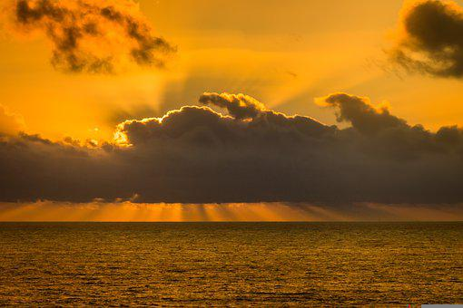 Sea, Horizon, Sunset, Seascape, Water