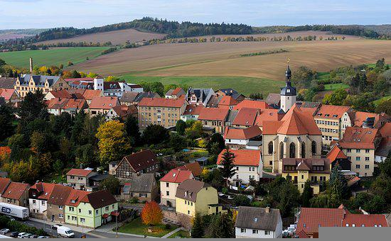Small Town, Buildings, Village, Town, Fields, Church