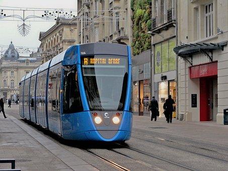 Tram, Tracks, City, Commute, Reims, France, Vehicle