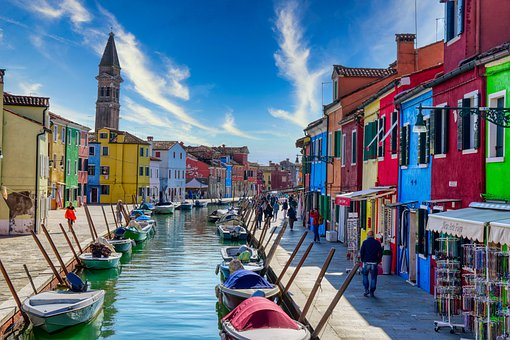 Italy, Burano, Channel, Venice, Canal, Boats, Buildings