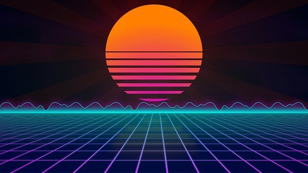 Sun, Grid, Waves, Retro Wave, Retro, 80s, Synth Wave