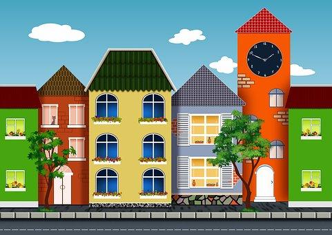 Houses, Trees, Windows, Street, Urban