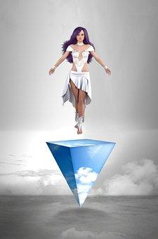 Goddess, Woman, Girl, Mystic, Clouds, Fantasy