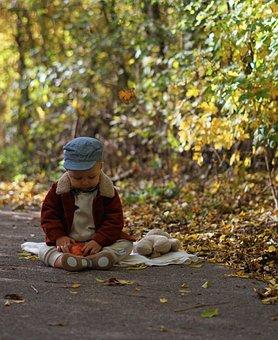 Baby, Child, Apple, Cap, Teddy Bear, Autumn, Colorful