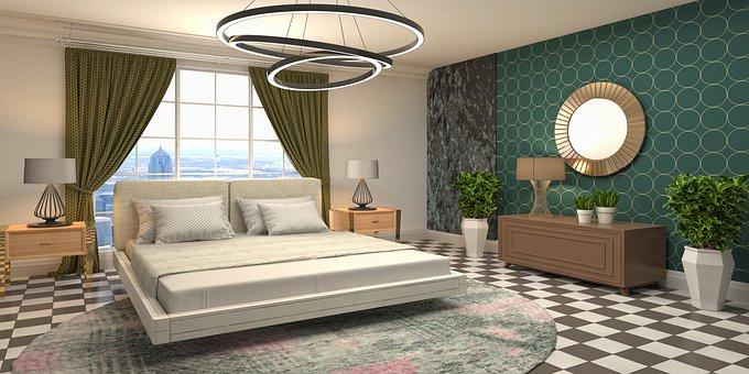 Interior Design, Bedroom, 3d Mockup, Room, Interior
