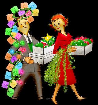 Couple, Lights, Ornaments, Christmas, Retro, Man, Woman