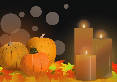 Pumpkins, Candles, Leaves, Harvest, Autumn, Halloween