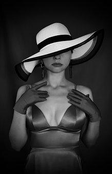 Hat, Dress, Neckline, Woman, Red, Gloves