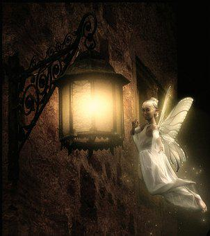 Fairy, Wings, Creature, Lantern, Lamp