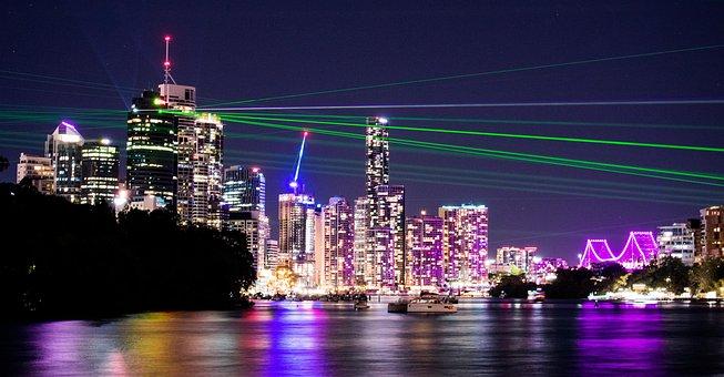 Brisbane City, Lightshow, Lasers, Skyline, Skyscrapers