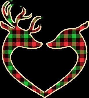 Buffalo Plaid Deer, Heart Shape Deer, Deer, Lumberjack