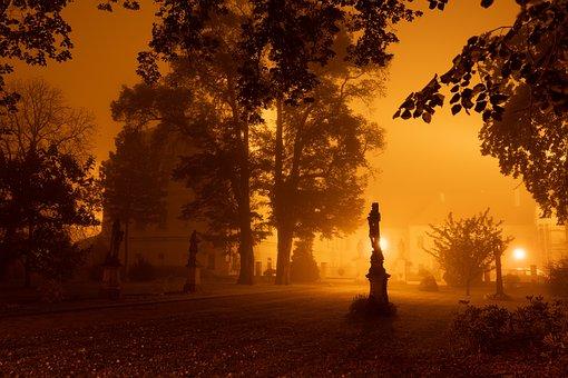 Monastery, Church, Fog, Mist, Night Lights, Night