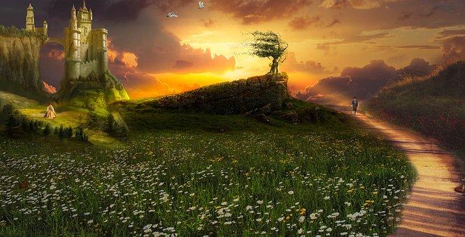 Castle, Valley, Field, Flowers, Path, Trail, Birds