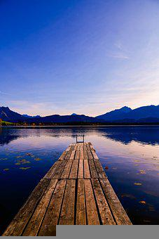 Lake, Pier, Mountains, Reflection, Alps