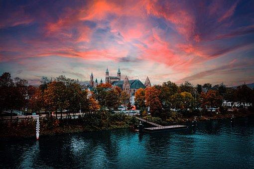 Castle, River, Sunset, Dusk, Twilight