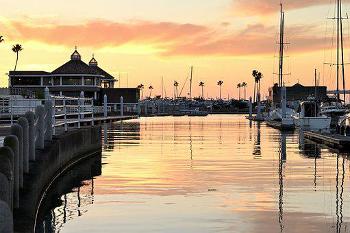 Boats, Port, Harbour, Sea, Sunset, Water