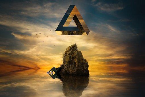 Geometric, Triangle, Surreal, Float, Dream, Reflection