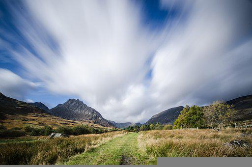 Mountains, Valley, Path, Trail, Snowdonia, Nature