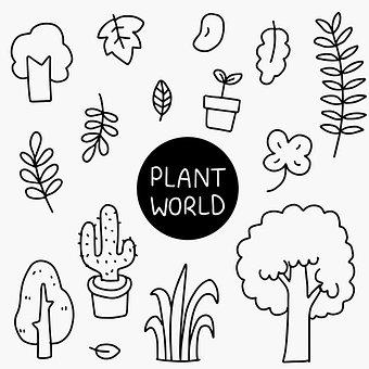 Leaves, Plants, Cactus, Potted Plants, Tree, Doodles