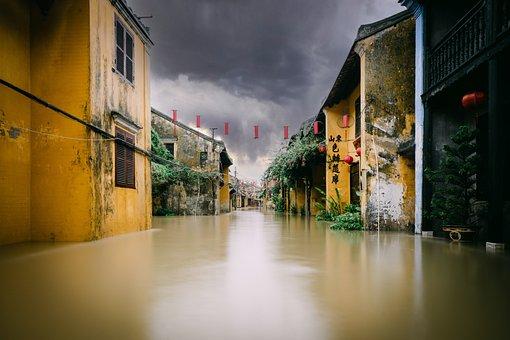 Flood, Village, Street, Buildings, Houses, Urban