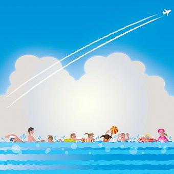 People Swimming, Swimming, People, Sea, Sky, Clouds