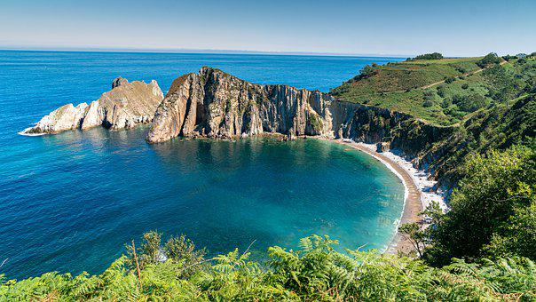 Beach, Sea, Lagoon, Cliffs, Mountains, Coast, Coastline