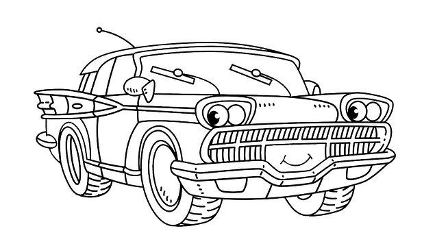 Car, Line Drawing, Coloring Book, Kids Coloring Book