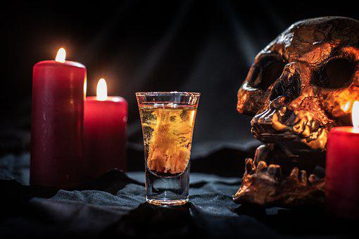 Shot, Cocktail, Drink, Skull, Candles, Zombie