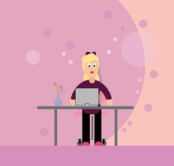 Woman, Computer, Desk, E Learning, Homeschooling