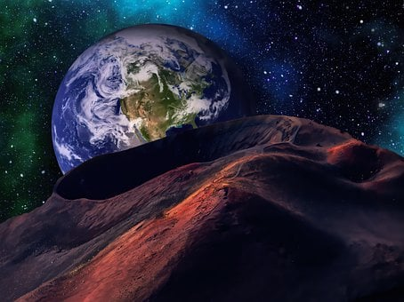 Earth, Planet, Craters, Cosmos, Stars