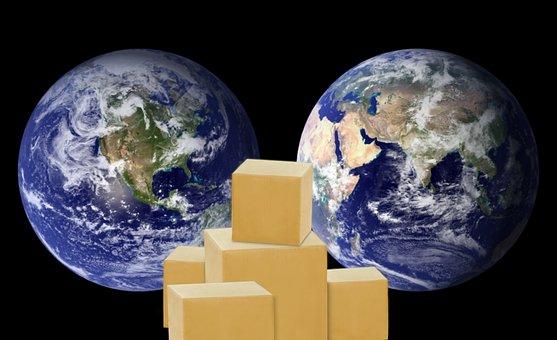 World, Globe, Boxes, Export, Import, International