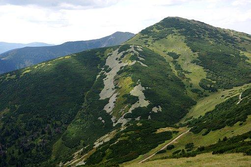 Mountains, Mountain Range, Fields, Peak, Summit, Green