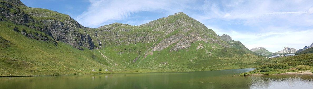 Lake, Mountains, Countryside, Mountain Range, Water