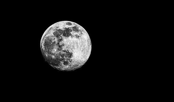 Moon, Full Moon, Night, Evening, Sky