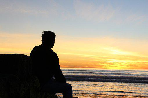 Person, Sunset, Silhouette, Beach, Sky, Sea, Sun