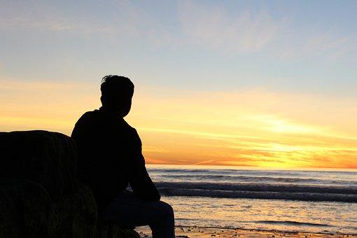 Person, Sunset, Silhouette, Beach, Sky