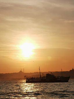 Sunset, Ship, Sea, Vessel, Silhouette, Backlighting