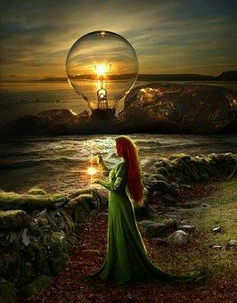 Woman, Light Bulb, Ocean, Beach, Character, Magic