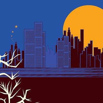Buildings, Towers, Full Moon, Moon Light, Tree, Sea