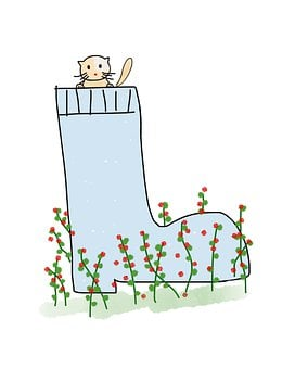 Boot, Cat, Kitten, Flowers, Cute, Cartoon, Funny