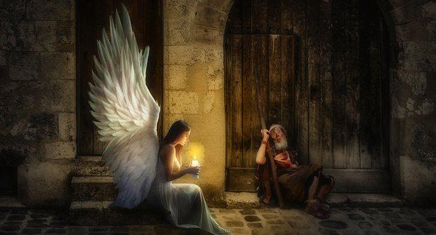 Angel, Beggars, Candle, Light, Wings, Christmas, Love