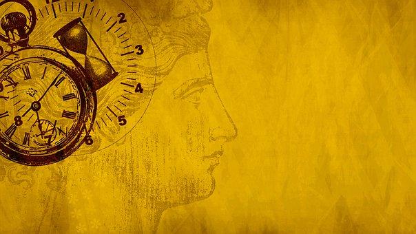 Woman, Clock, Hourglass, Scrapbook, Copy Space