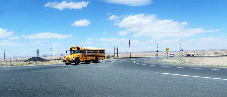 Desert, School Bus, Road, Avenue, Street, Pavement