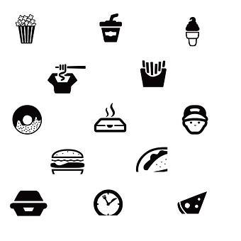 Fast Food, Popcorn, Drink, Ice-cream, Fries, Donut
