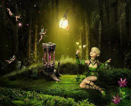 Fairy, Girl, Butterflies, Lamp, Grass, Flowers, Leaves