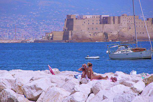 Fortress, Women, Sunbathing, Holiday, Vacation, Ship